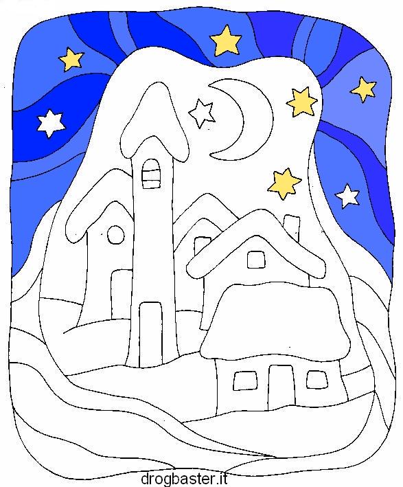 Disegni di natale da colorare per bambini babbo natale e for Disegni paesaggi da colorare