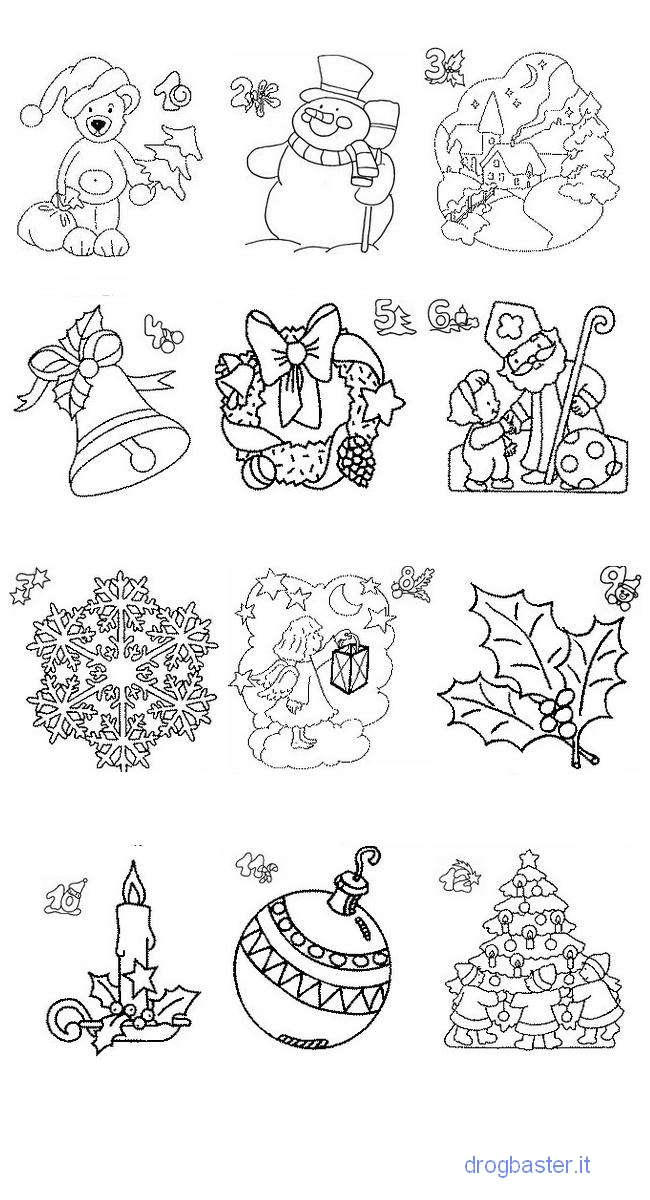 I Simboli Del Natale.Disegni Di Natale Da Colorare Per Bambini Babbo Natale E