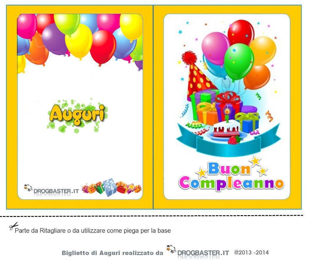 abbastanza Biglietto Auguri Compleanno da stampare gratis BI86
