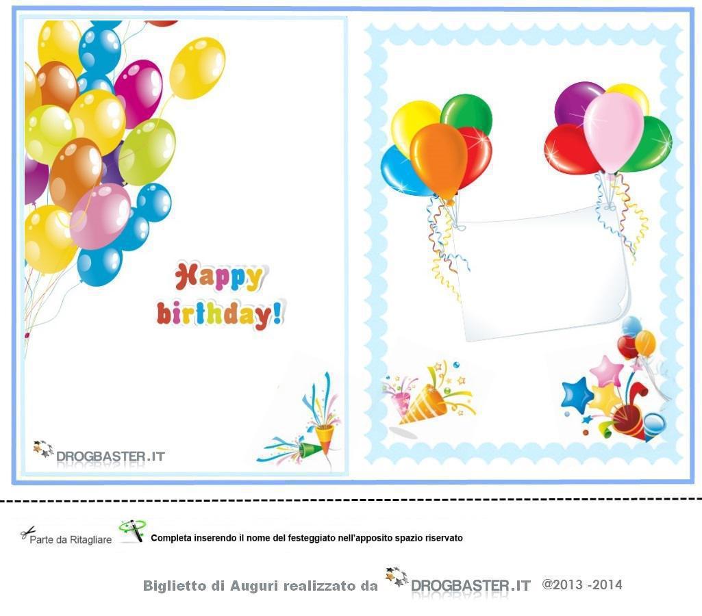 Estremamente Biglietti gratis compleanno, stampa il biglietto d'auguri AZ63