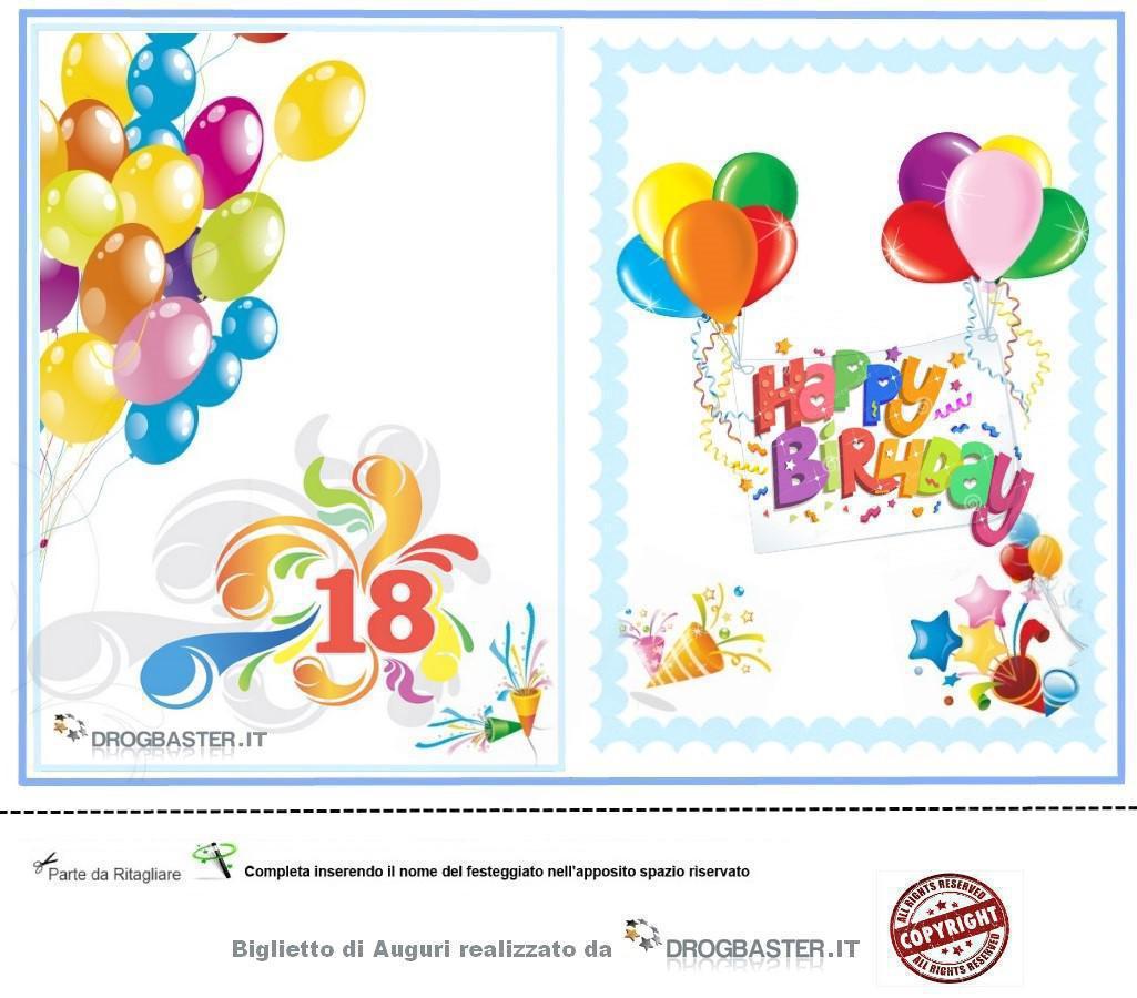 Favoloso Biglietti auguri 18 anni da stampare gratis QG91