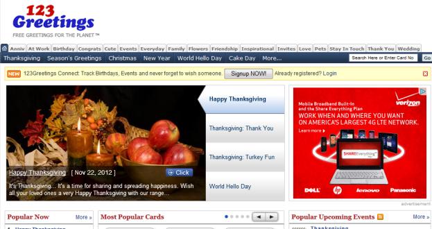 screenshot del sito 123greetings