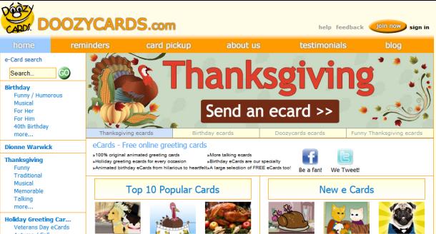 screenshot del sito doozycards.com