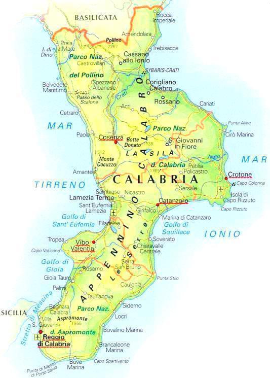 Calabria Costa Tirrenica Cartina.Informazioni Turistiche Regione Calabria