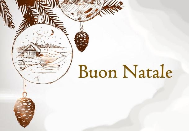 Buon Natale cartolina semplice e decorata