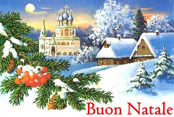 Cartolina con auguri di Buon Natale e paesaggio come sfondo