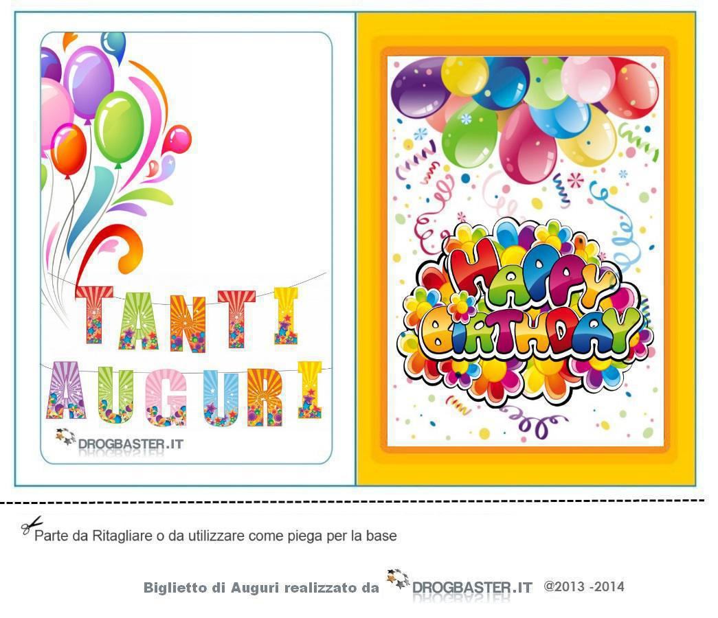 Eccezionale Biglietti gratis compleanno, stampa il biglietto d'auguri YB81