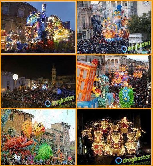 foto del Carnevale di Acireale con le maschere
