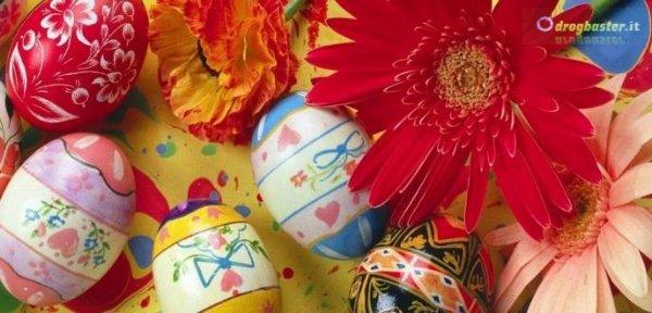 copertina con uova pasquali decorazioni