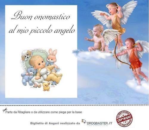 biglietto augurio onomastico con angeli