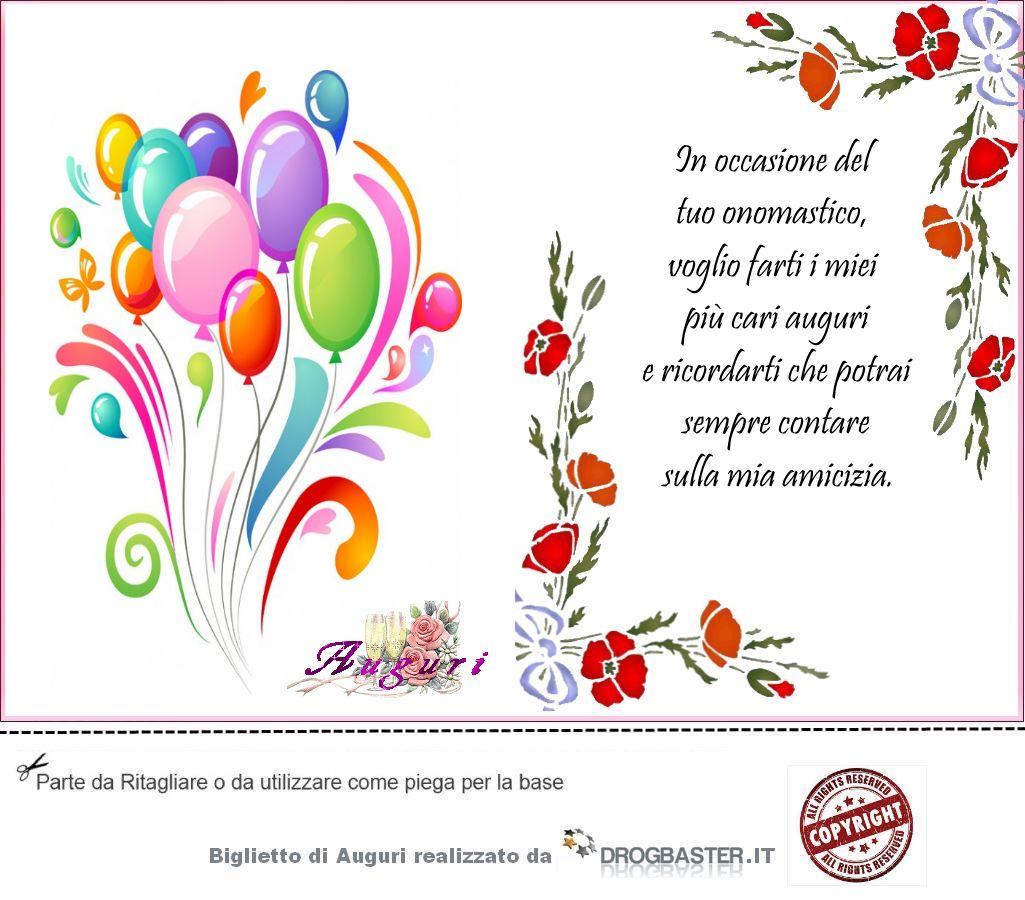 Auguri Matrimonio Non Presenti : Biglietti di auguri onomastico da stampare
