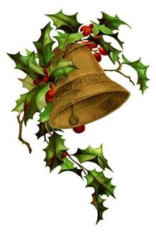 campana con agrifoglio natalizia