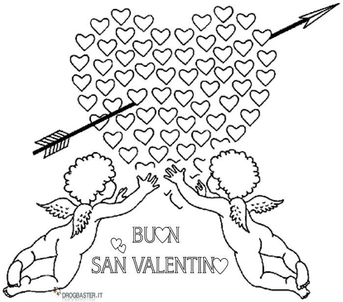 Disegni da stampare e colorare per san valentino for Disegni angeli da colorare gratis