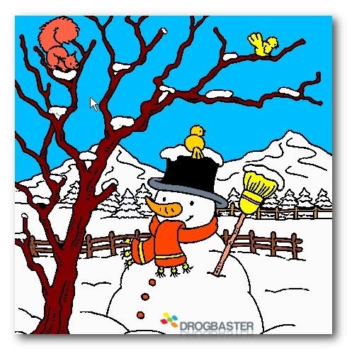 Colora disegni di natale con pupazzo di neve e decorazioni for Disegni colorati paesaggi