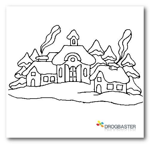 Colora disegni di natale con pupazzo di neve e decorazioni for Disegni paesaggi da colorare