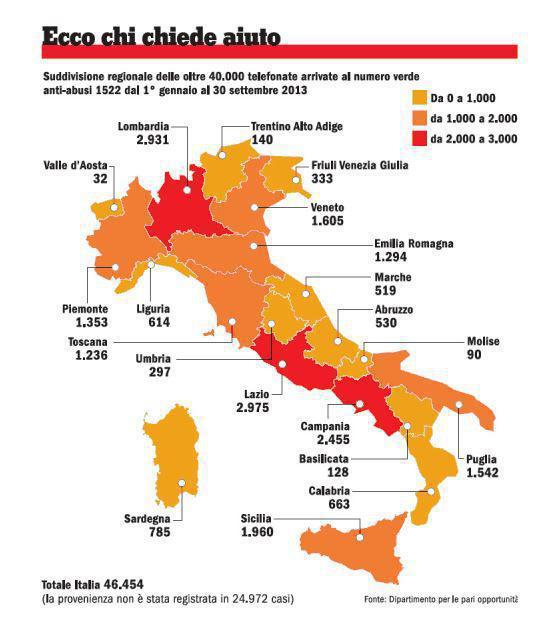 cartina del terrirorio Italiano - Segnalazioni di denuncie