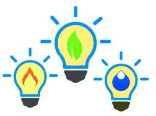 energia tre lampadine con elementi naturali: acqua, gas e fonti rinnovabili