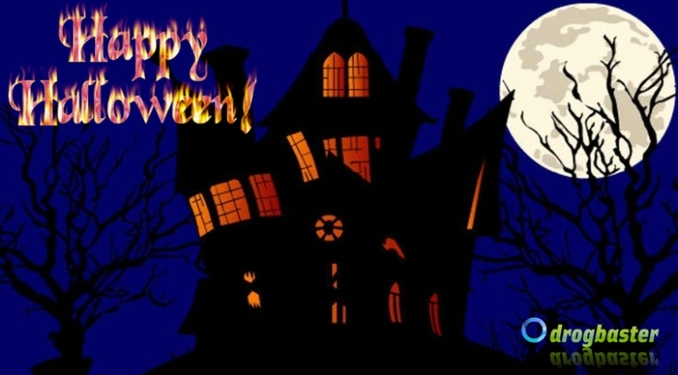 happy halloween covers per facebook con castello oscuro
