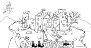 scritta halloween con castello