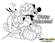 pluto e topolino con zucca per augurare happy halloween