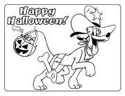 pluto personaggio disney con scritta happy halloween