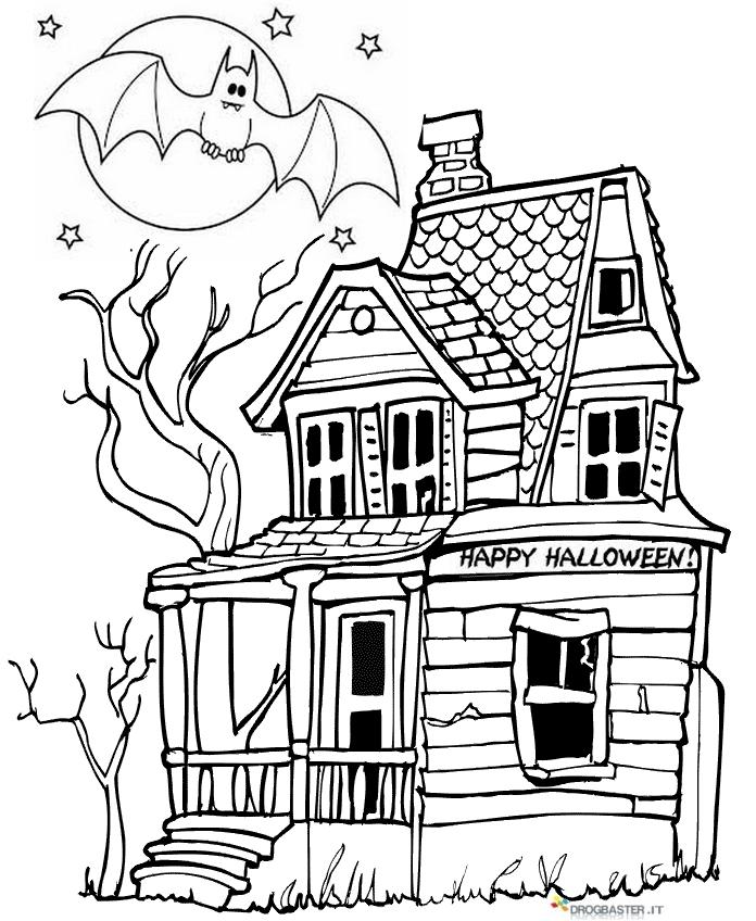 Halloween disegni per bambini da colorare gratis - Disegni di casa da colorare per bambini ...