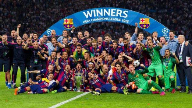 Foto festeggiamenti Barcellona vince supercoppa Uefa