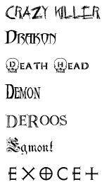 caratteri font dalla C alla E
