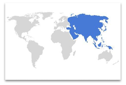globo con continente Asia evidenziato