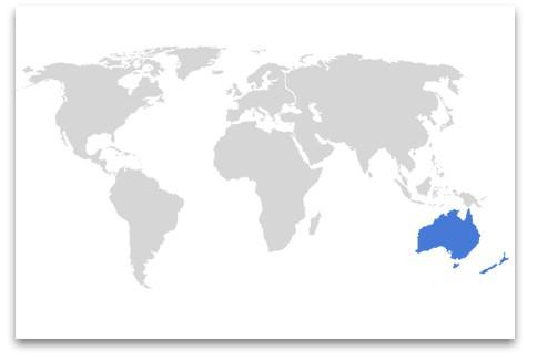 globo con continente Oceania evidenziato