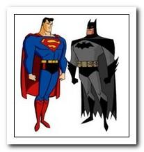 Online ASCII Art personaggi batman e superman