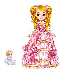 dollz principessa con abito di color rosa