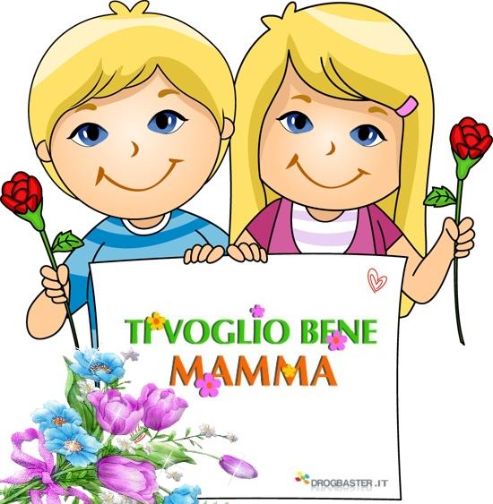 Dedica alla mamma Ri voglio bene con fiori colorati