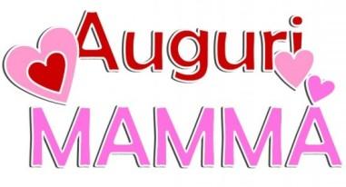 scritta Auguri mamma colorata di rosso e rosella