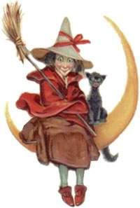 befana con gatto e luna