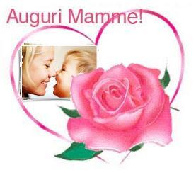 Cuore con Rose con foto illustrata con scritta Auguri Mamme