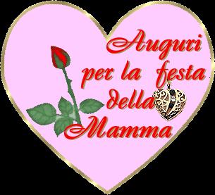 Cuore con rosa rossa con scritta Auguri per la festa della mamma