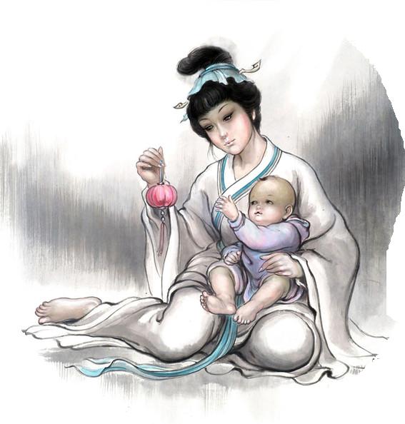 mamma giapponese con bimbo