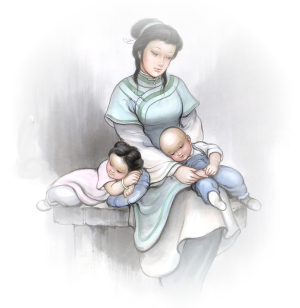 mamma con i suoi bambini