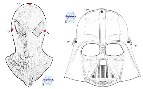 disegni maschere per bambini Spiderman e Star Wars Darth Vader