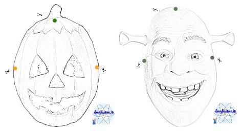 disegni maschere per bambini zucca e Shrek