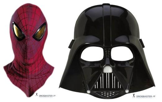 maschere per bambini Spiderman e Star Wars Darth Vader