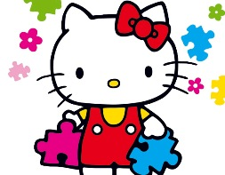 hello kitty con puzzle in mano