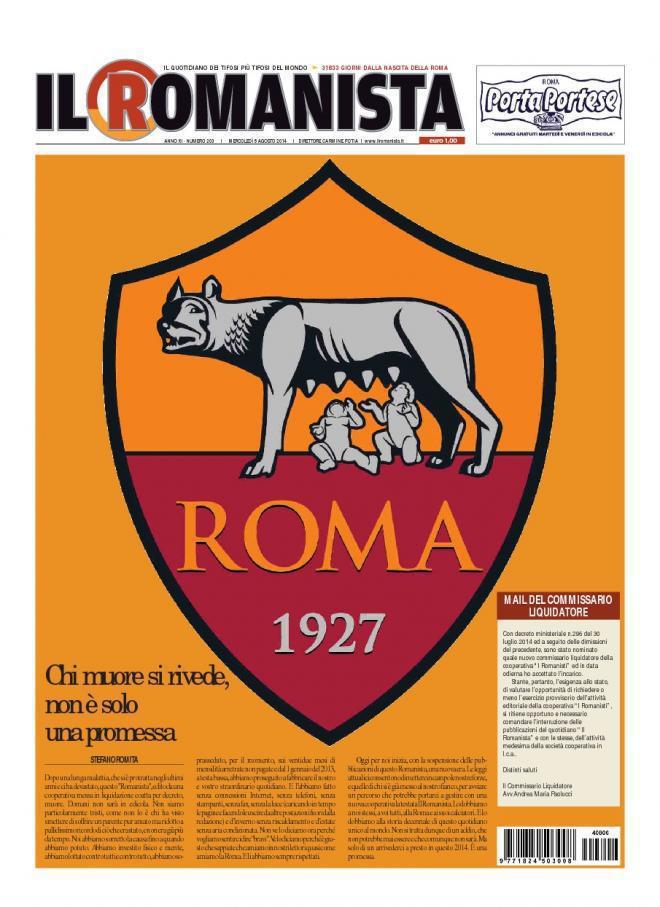 Testata Il Romanista ultima edizione