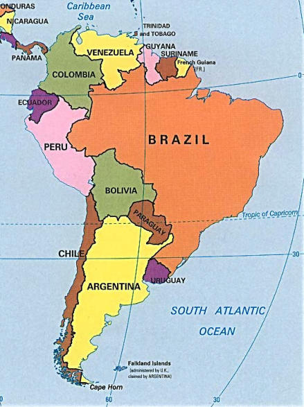 mappa America Meridionale