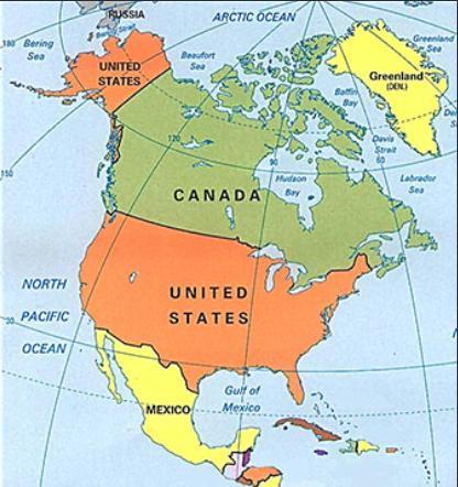 mappa America Settentrionale