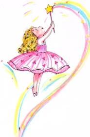 fatina con bacchetta disegna arcobaleno