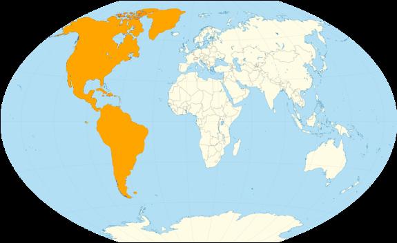 Continente america vista dal globo