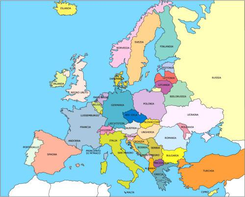 mappa stati Europei