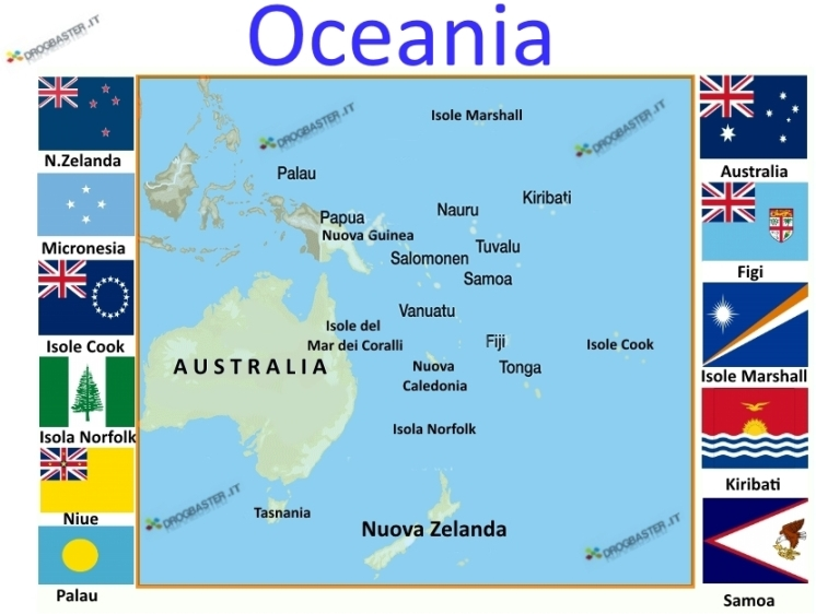 Bandiere e Isole Oceania